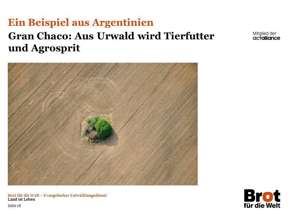Brot für die Welt – Evangelischer Entwicklungsdienst Land ist Leben Seite 28 Ein Beispiel aus Argentinien Gran Chaco: Aus Urwald wird Tierfutter und A