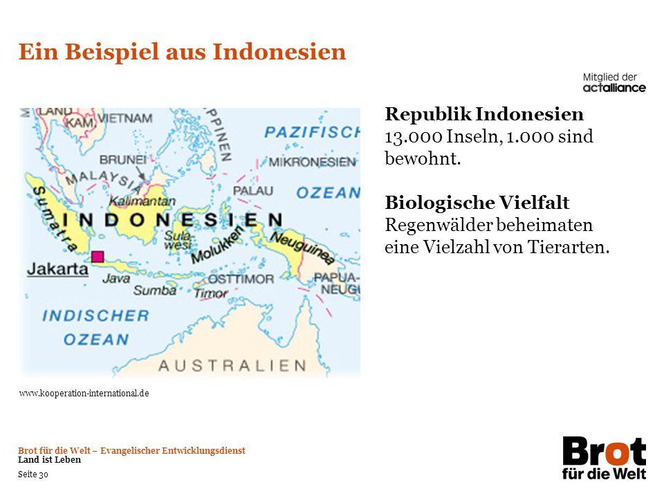 Brot für die Welt – Evangelischer Entwicklungsdienst Land ist Leben Seite 30 Ein Beispiel aus Indonesien Republik Indonesien 13.000 Inseln, 1.000 sind
