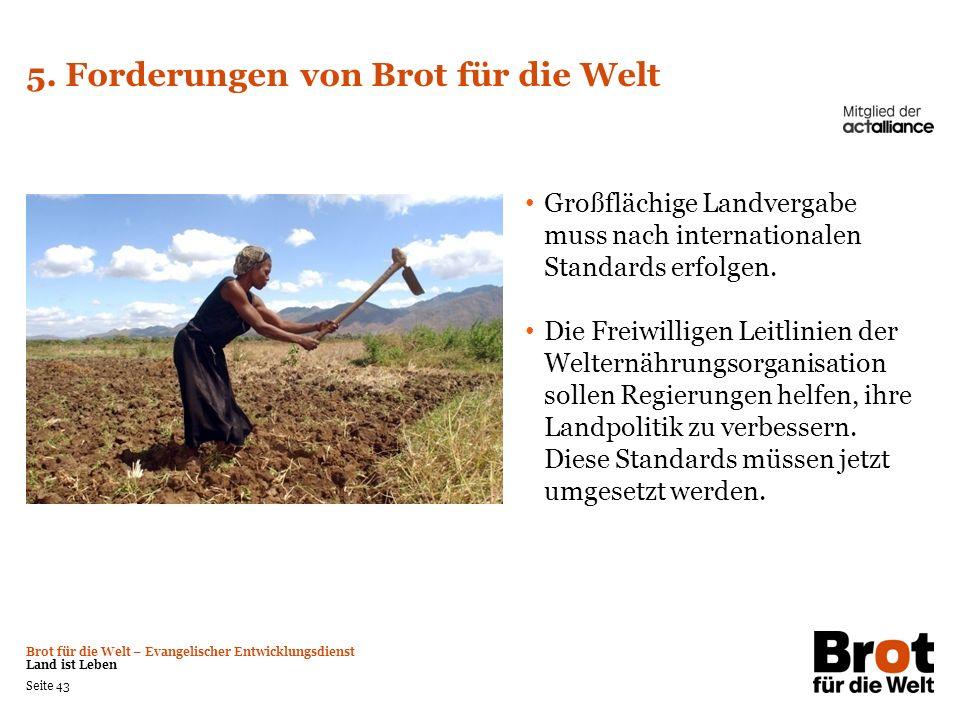 Brot für die Welt – Evangelischer Entwicklungsdienst Land ist Leben Seite 43 5. Forderungen von Brot für die Welt Großflächige Landvergabe muss nach i