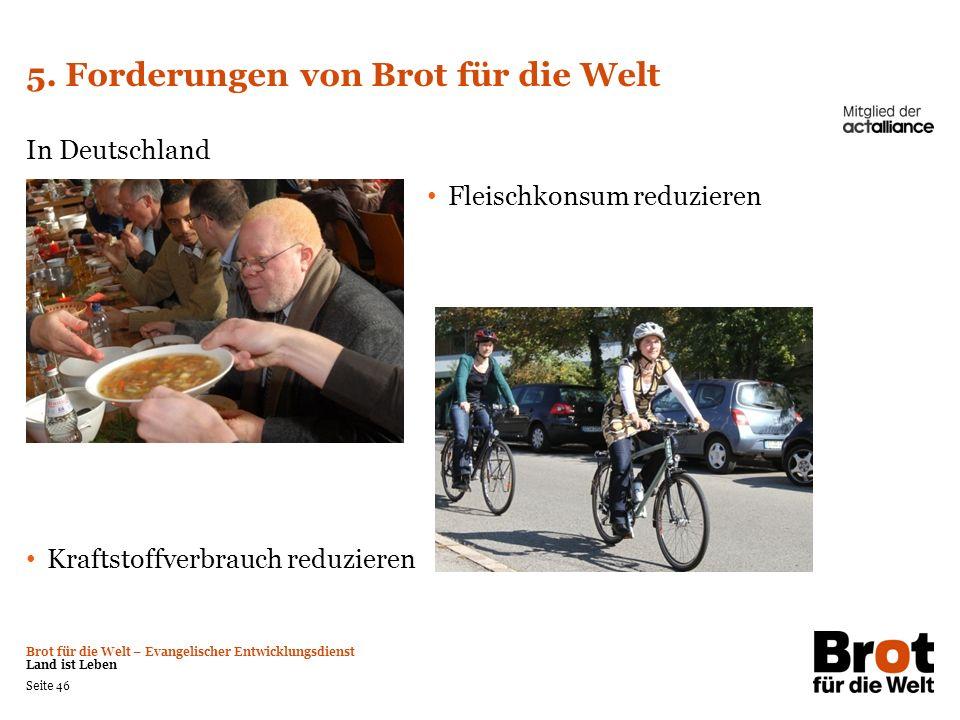 Brot für die Welt – Evangelischer Entwicklungsdienst Land ist Leben Seite 46 5. Forderungen von Brot für die Welt In Deutschland Fleischkonsum reduzie