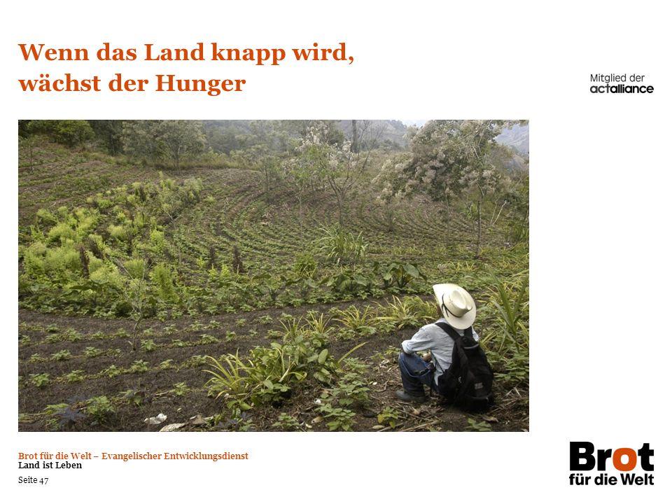Brot für die Welt – Evangelischer Entwicklungsdienst Land ist Leben Seite 47 Wenn das Land knapp wird, wächst der Hunger