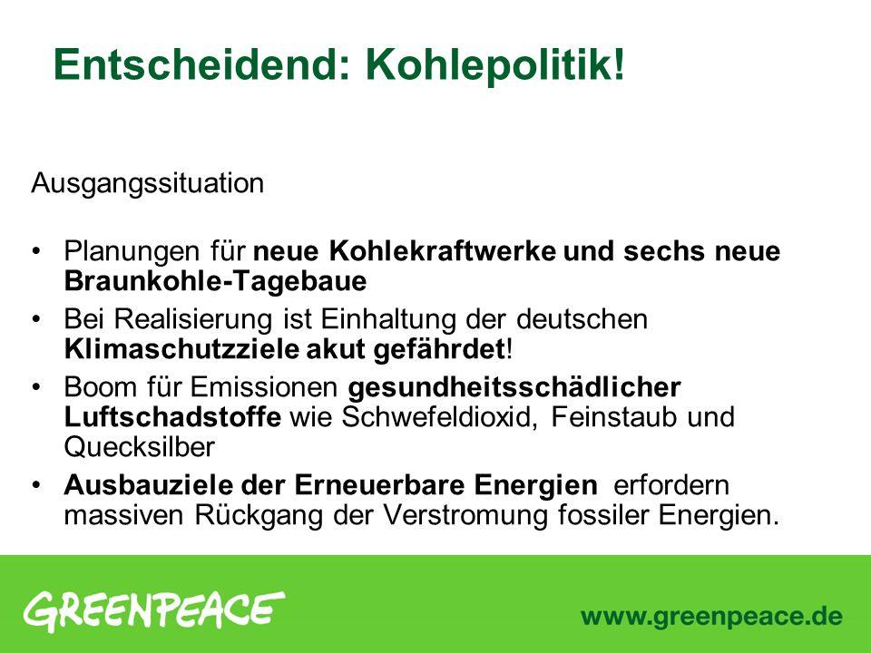 Ausgangssituation Planungen für neue Kohlekraftwerke und sechs neue Braunkohle-Tagebaue Bei Realisierung ist Einhaltung der deutschen Klimaschutzziele