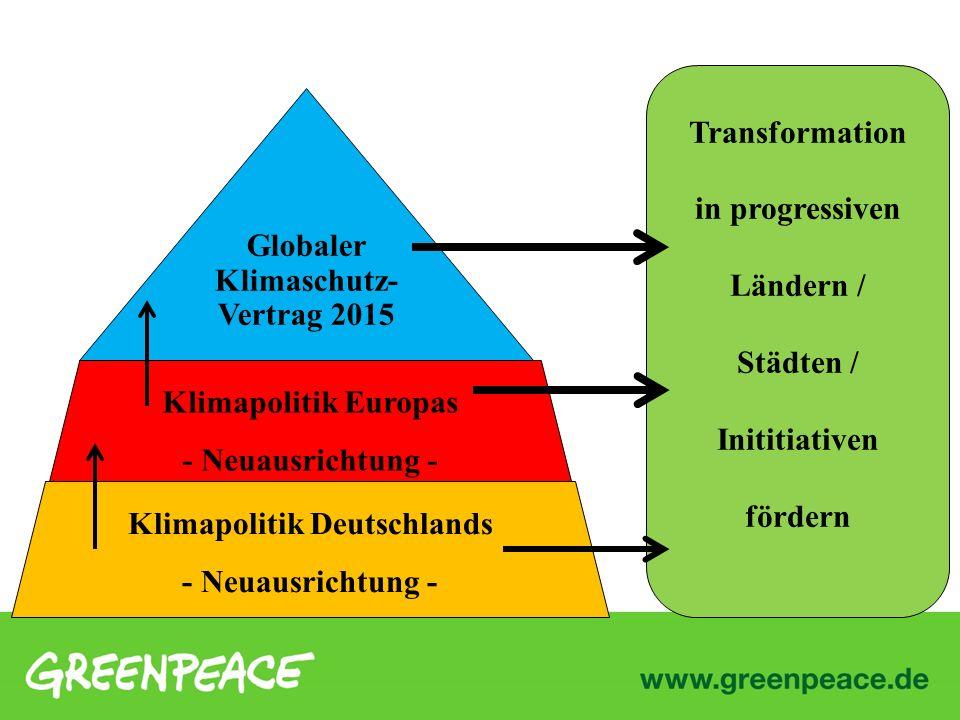 Klimapolitik Deutschlands - Neuausrichtung - Klimapolitik Europas - Neuausrichtung - Globaler Klimaschutz- Vertrag 2015 Transformation in progressiven