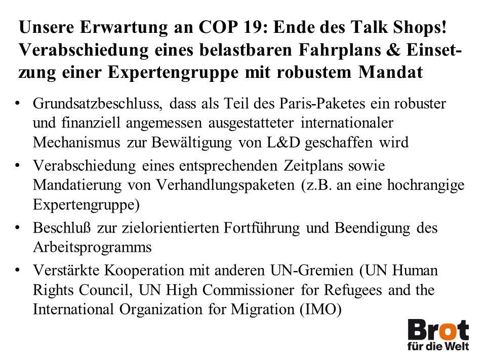 Unsere Erwartung an COP 19: Ende des Talk Shops.