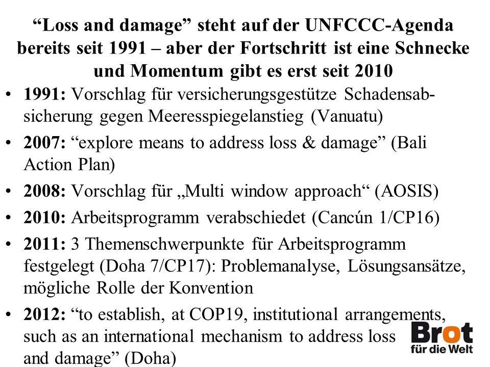 Loss and damage steht auf der UNFCCC-Agenda bereits seit 1991 – aber der Fortschritt ist eine Schnecke und Momentum gibt es erst seit 2010 1991: Vorschlag für versicherungsgestütze Schadensab- sicherung gegen Meeresspiegelanstieg (Vanuatu) 2007: explore means to address loss & damage (Bali Action Plan) 2008: Vorschlag für Multi window approach (AOSIS) 2010: Arbeitsprogramm verabschiedet (Cancún 1/CP16) 2011: 3 Themenschwerpunkte für Arbeitsprogramm festgelegt (Doha 7/CP17): Problemanalyse, Lösungsansätze, mögliche Rolle der Konvention 2012: to establish, at COP19, institutional arrangements, such as an international mechanism to address loss and damage (Doha)