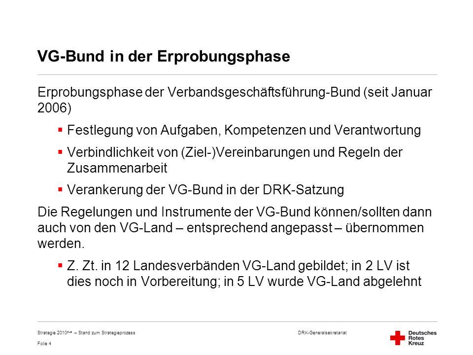 DRK-Generalsekretariat Folie 4 Strategie 2010 plus – Stand zum Strategieprozess VG-Bund in der Erprobungsphase Erprobungsphase der Verbandsgeschäftsfü