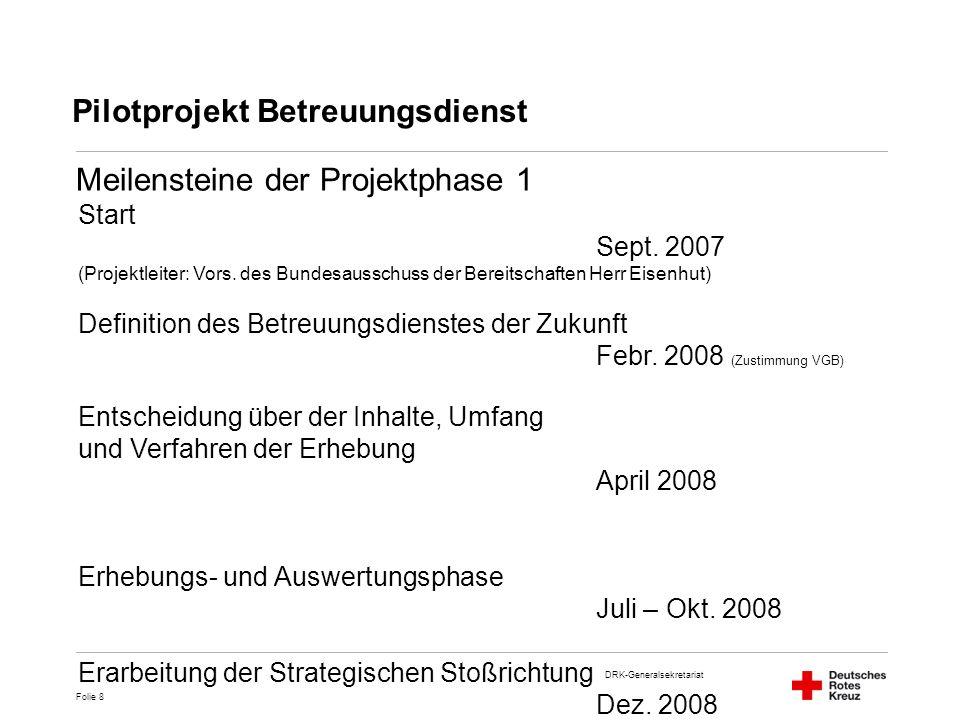 DRK-Generalsekretariat Folie 8 Start Sept. 2007 (Projektleiter: Vors. des Bundesausschuss der Bereitschaften Herr Eisenhut) Definition des Betreuungsd