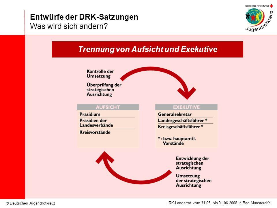 © Deutsches Jugendrotkreuz JRK-Länderrat vom 31.05. bis 01.06.2008 in Bad Münstereifel Entwürfe der DRK-Satzungen Was wird sich ändern? Trennung von A