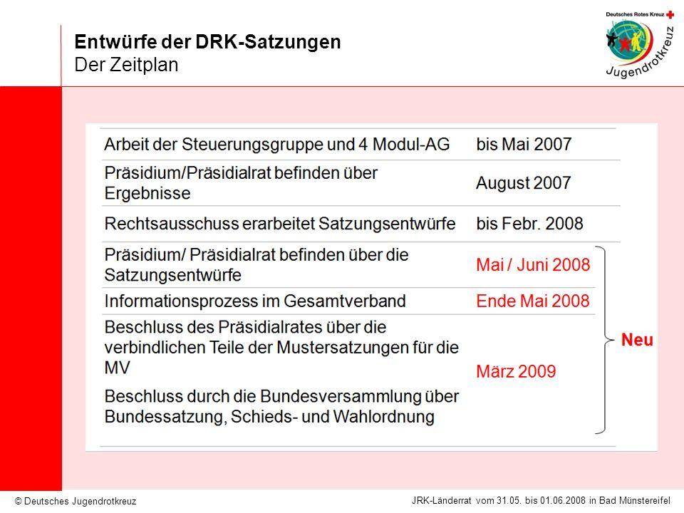 © Deutsches Jugendrotkreuz JRK-Länderrat vom 31.05. bis 01.06.2008 in Bad Münstereifel Entwürfe der DRK-Satzungen Der Zeitplan