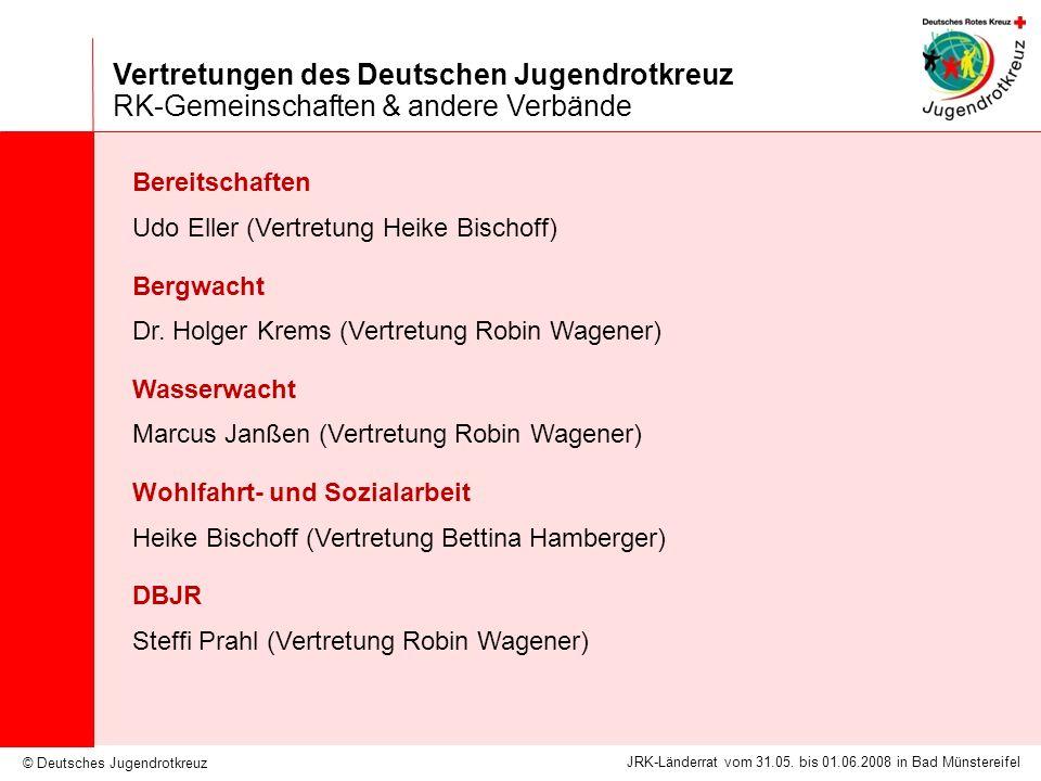 © Deutsches Jugendrotkreuz JRK-Länderrat vom 31.05. bis 01.06.2008 in Bad Münstereifel Vertretungen des Deutschen Jugendrotkreuz RK-Gemeinschaften & a