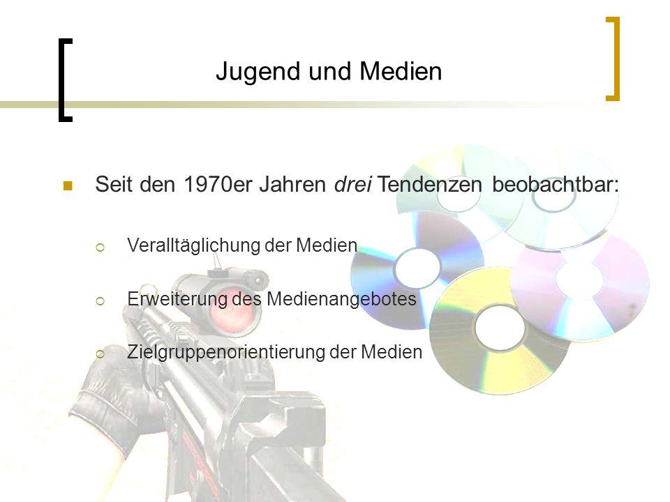 Jugend und Medien Seit den 1970er Jahren drei Tendenzen beobachtbar: Veralltäglichung der Medien Erweiterung des Medienangebotes Zielgruppenorientieru
