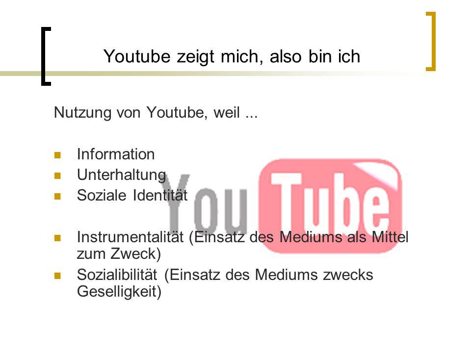 Youtube zeigt mich, also bin ich Nutzung von Youtube, weil... Information Unterhaltung Soziale Identität Instrumentalität (Einsatz des Mediums als Mit
