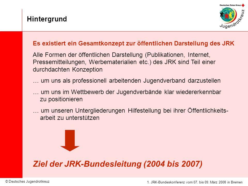 © Deutsches Jugendrotkreuz JRK-Medienkonzept / 25.09.2007 1. JRK-Bundeskonferenz vom 07. bis 09. März 2008 in Bremen Hintergrund Es existiert ein Gesa