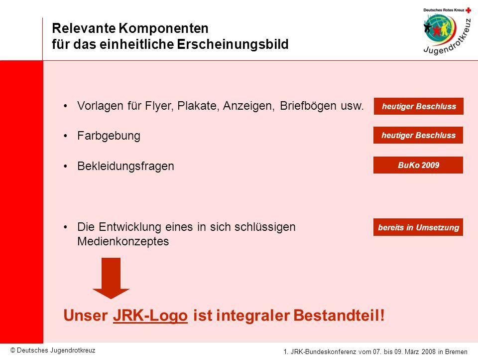© Deutsches Jugendrotkreuz JRK-Medienkonzept / 25.09.2007 1. JRK-Bundeskonferenz vom 07. bis 09. März 2008 in Bremen Relevante Komponenten für das ein