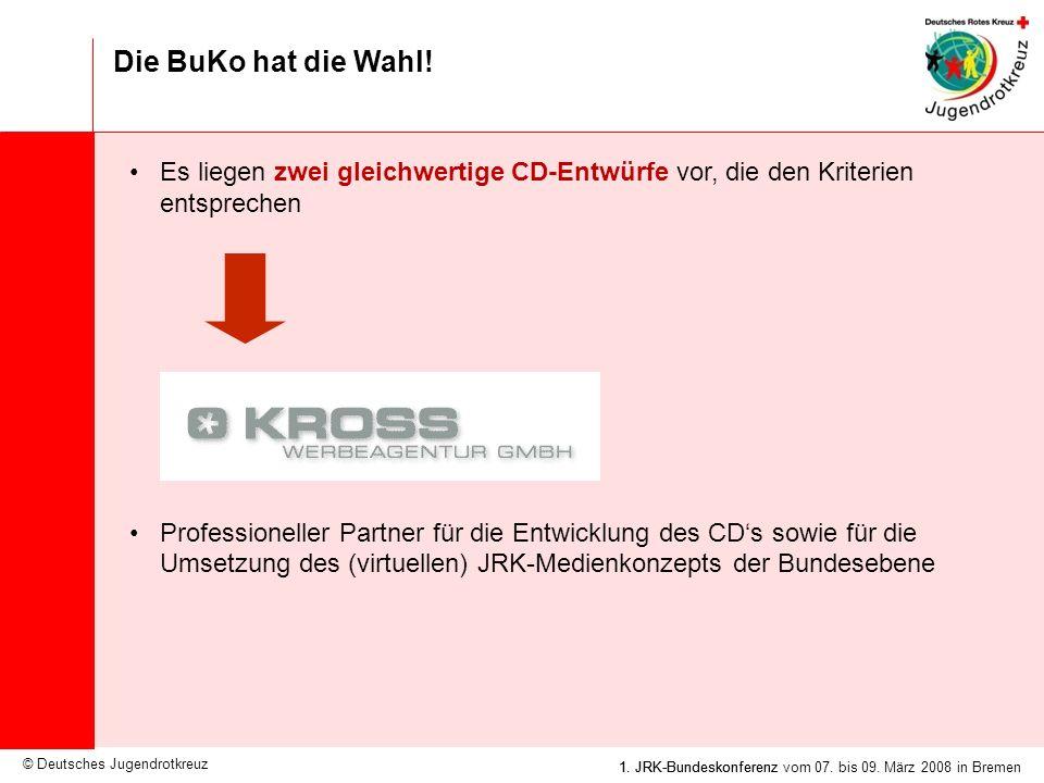 © Deutsches Jugendrotkreuz JRK-Medienkonzept / 25.09.2007 1. JRK-Bundeskonferenz vom 07. bis 09. März 2008 in Bremen Die BuKo hat die Wahl! Es liegen