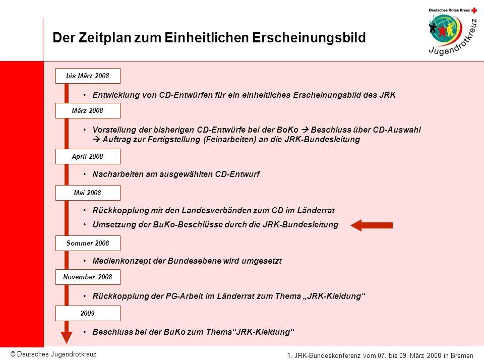 © Deutsches Jugendrotkreuz JRK-Medienkonzept / 25.09.2007 1. JRK-Bundeskonferenz vom 07. bis 09. März 2008 in Bremen Der Zeitplan zum Einheitlichen Er