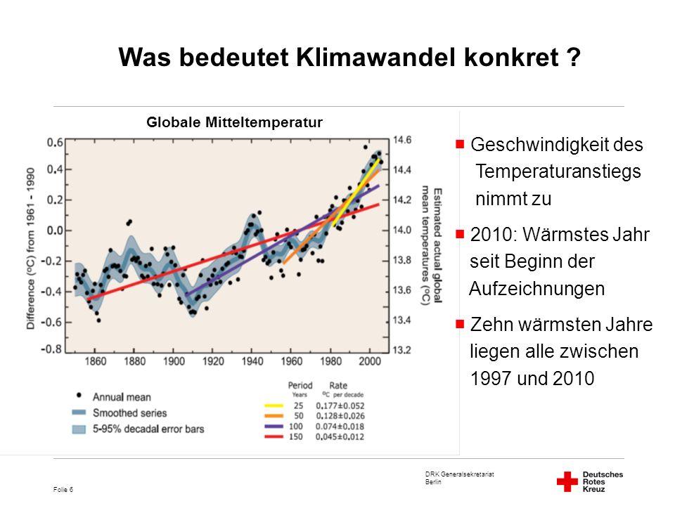 DRK Generalsekretariat Berlin Folie 7 CO2 Ausstoß Temperaturanstieg geht Hand in Hand mit CO2 Ausstoß Massiver Anstieg seit Beginn der Industrialisierung Verbrennung fossiler Brennstoffe als zentrale Ursache CO2 Konzentration in der Atmosphäre Was bedeutet Klimawandel konkret ?
