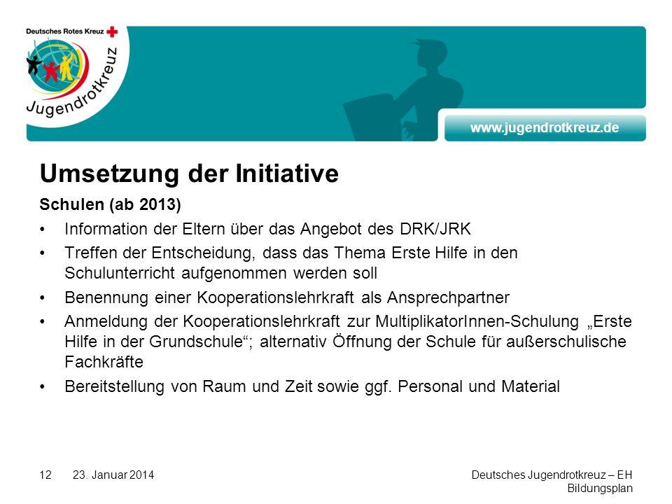 www.jugendrotkreuz.de 23. Januar 2014Deutsches Jugendrotkreuz – EH Bildungsplan 12 Umsetzung der Initiative Schulen (ab 2013) Information der Eltern ü