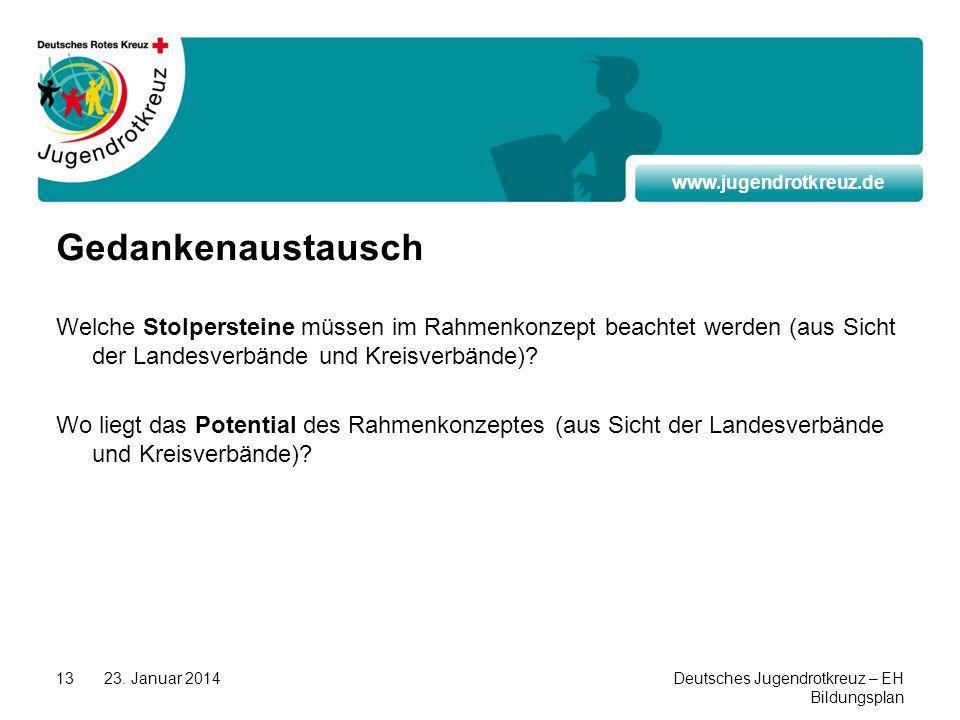 www.jugendrotkreuz.de 23. Januar 2014Deutsches Jugendrotkreuz – EH Bildungsplan 13 Gedankenaustausch Welche Stolpersteine müssen im Rahmenkonzept beac