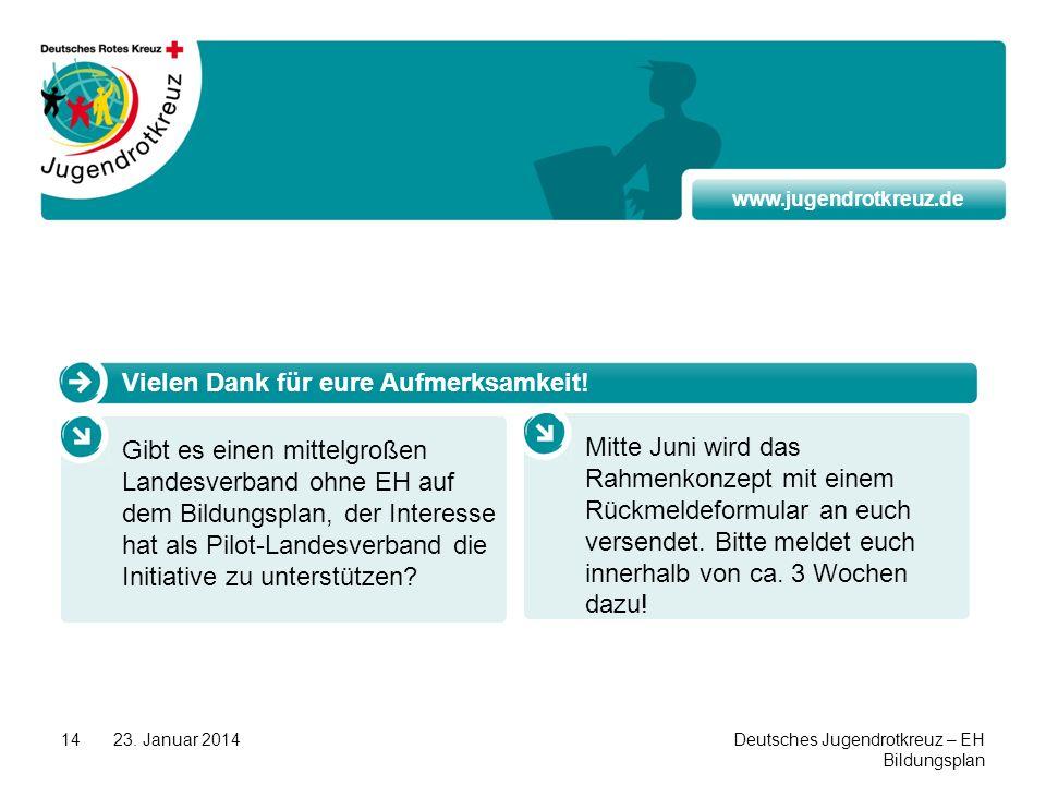 www.jugendrotkreuz.de 23. Januar 2014Deutsches Jugendrotkreuz – EH Bildungsplan 14 Vielen Dank für eure Aufmerksamkeit! Gibt es einen mittelgroßen Lan