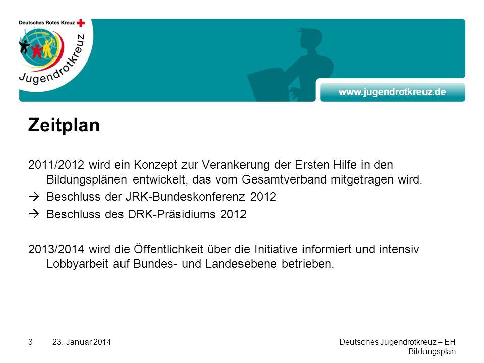 www.jugendrotkreuz.de 23. Januar 2014Deutsches Jugendrotkreuz – EH Bildungsplan 3 Zeitplan 2011/2012 wird ein Konzept zur Verankerung der Ersten Hilfe
