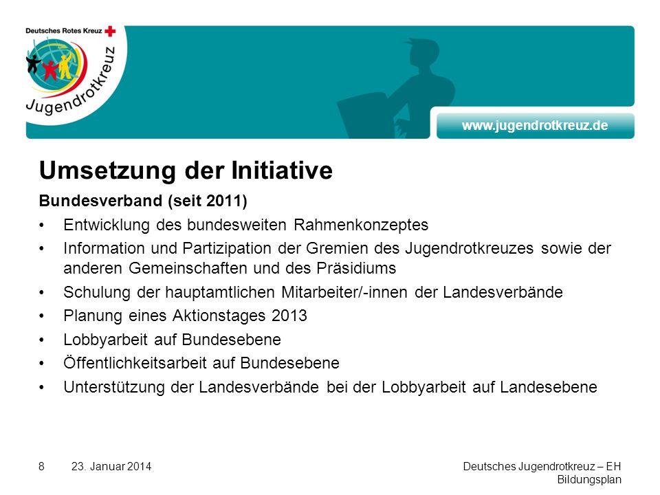 www.jugendrotkreuz.de 23. Januar 2014Deutsches Jugendrotkreuz – EH Bildungsplan 8 Umsetzung der Initiative Bundesverband (seit 2011) Entwicklung des b