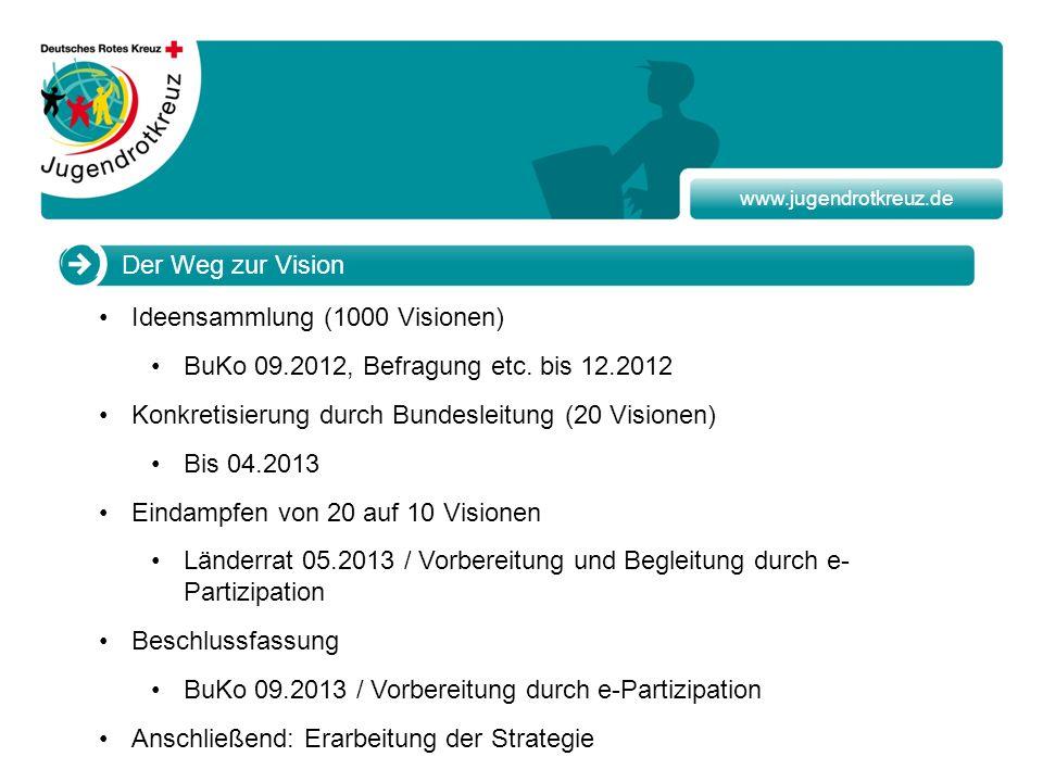 www.jugendrotkreuz.de Der Weg zur Vision Ideensammlung (1000 Visionen) BuKo 09.2012, Befragung etc. bis 12.2012 Konkretisierung durch Bundesleitung (2