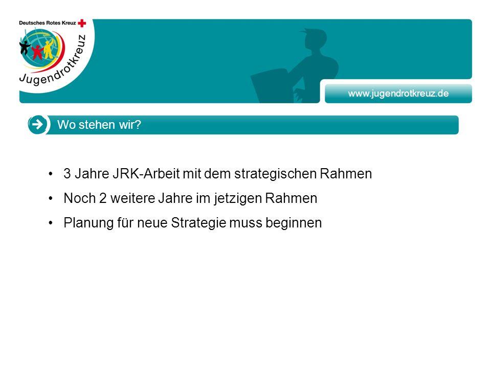 www.jugendrotkreuz.de Wo stehen wir? 3 Jahre JRK-Arbeit mit dem strategischen Rahmen Noch 2 weitere Jahre im jetzigen Rahmen Planung für neue Strategi