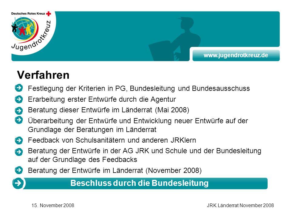 www.jugendrotkreuz.de 15. November 2008JRK Länderrat November 2008 Verfahren Festlegung der Kriterien in PG, Bundesleitung und Bundesausschuss Erarbei