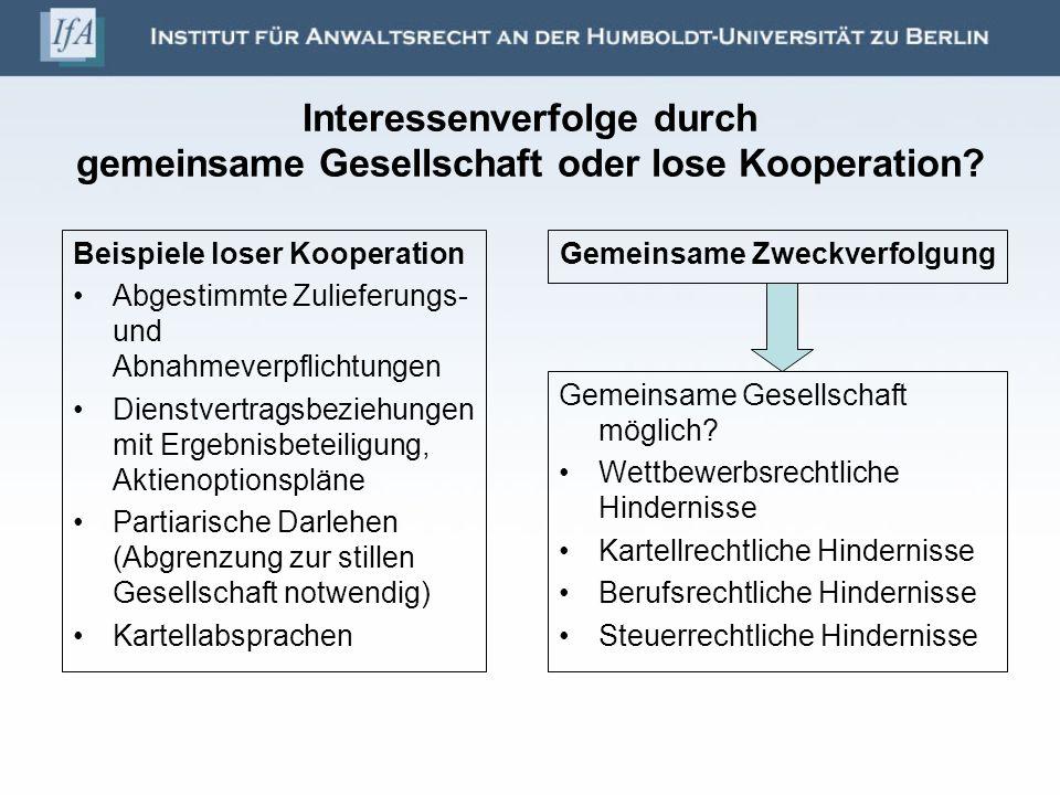Interessenverfolge durch gemeinsame Gesellschaft oder lose Kooperation? Beispiele loser Kooperation Abgestimmte Zulieferungs- und Abnahmeverpflichtung