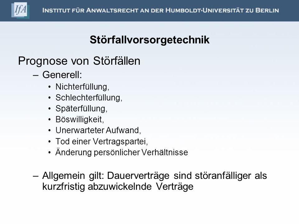 Störfallvorsorgetechnik Prognose von Störfällen –Generell: Nichterfüllung, Schlechterfüllung, Späterfüllung, Böswilligkeit, Unerwarteter Aufwand, Tod