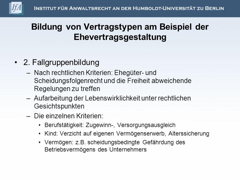 Bildung von Vertragstypen am Beispiel der Ehevertragsgestaltung 2.