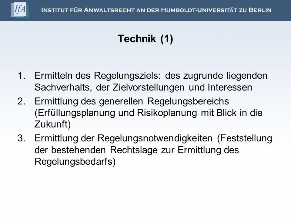 Technik (2) 4.Erarbeitung des Vorschlags im Detail a)Zusammenstellung der in Betracht kommenden Gestaltungsmöglichkeiten b)Sammeln und Analysieren der Vor- und Nachteile der verschiedenen Regelungsmöglichkeiten c)Abwägung mit anschließendem Vorschlag