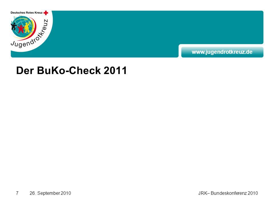 www.jugendrotkreuz.de 26. September 2010JRK– Bundeskonferenz 20107 Der BuKo-Check 2011