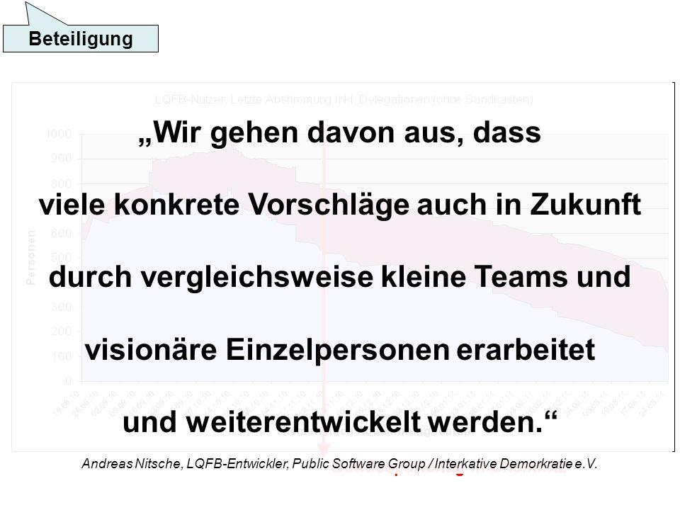 Beteiligung Bundesparteitag in Chemnitz Wir gehen davon aus, dass viele konkrete Vorschläge auch in Zukunft durch vergleichsweise kleine Teams und visionäre Einzelpersonen erarbeitet und weiterentwickelt werden.