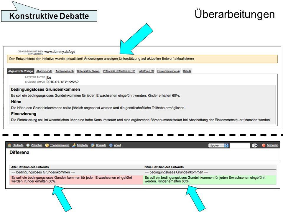 Überarbeitungen Konstruktive Debatte