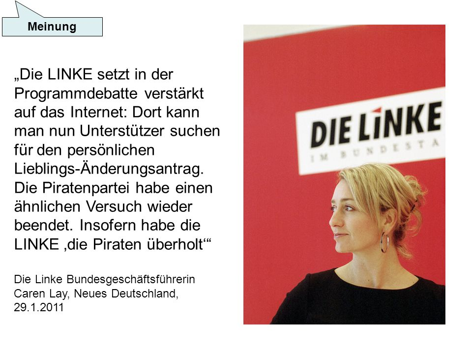 Die LINKE setzt in der Programmdebatte verstärkt auf das Internet: Dort kann man nun Unterstützer suchen für den persönlichen Lieblings-Änderungsantrag.