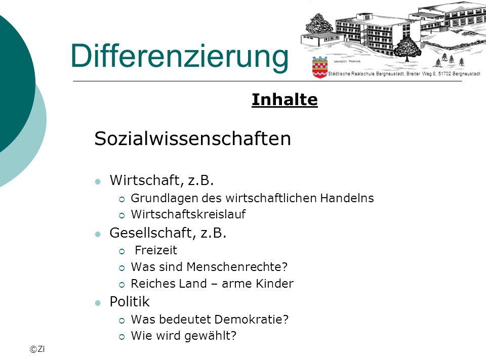 ©Zi Differenzierung Inhalte Sozialwissenschaften Wirtschaft, z.B. Grundlagen des wirtschaftlichen Handelns Wirtschaftskreislauf Gesellschaft, z.B. Fre