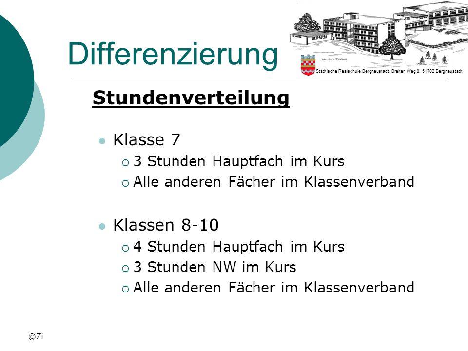 ©Zi Differenzierung Stundenverteilung Klasse 7 3 Stunden Hauptfach im Kurs Alle anderen Fächer im Klassenverband Klassen 8-10 4 Stunden Hauptfach im K