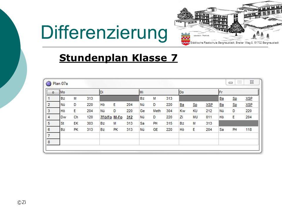 ©Zi Differenzierung Stundenplan Klasse 7 Städtische Realschule Bergneustadt, Breiter Weg 8, 51702 Bergneustadt