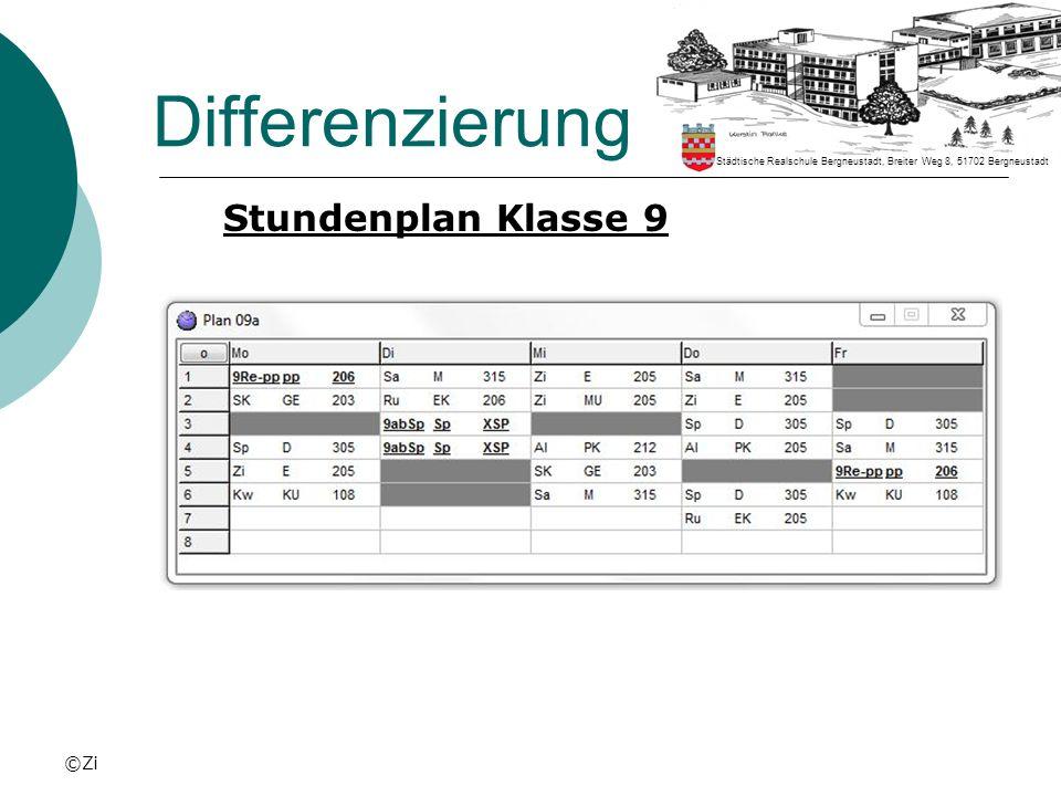 ©Zi Differenzierung Stundenplan Klasse 9 Städtische Realschule Bergneustadt, Breiter Weg 8, 51702 Bergneustadt