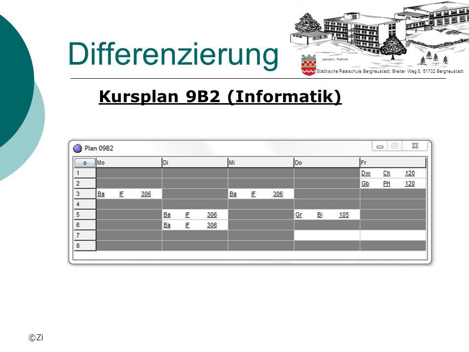 ©Zi Differenzierung Kursplan 9B2 (Informatik) Städtische Realschule Bergneustadt, Breiter Weg 8, 51702 Bergneustadt