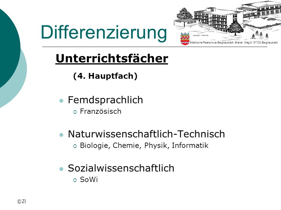©Zi Differenzierung Unterrichtsfächer (4. Hauptfach) Femdsprachlich Französisch Naturwissenschaftlich-Technisch Biologie, Chemie, Physik, Informatik S