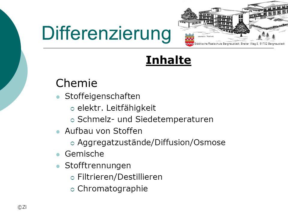 ©Zi Differenzierung Inhalte Chemie Stoffeigenschaften elektr. Leitfähigkeit Schmelz- und Siedetemperaturen Aufbau von Stoffen Aggregatzustände/Diffusi