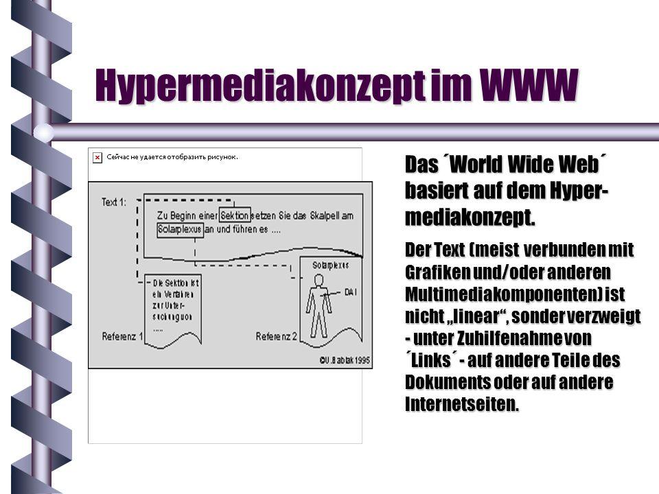 Hypermediakonzept im WWW Das ´World Wide Web´ basiert auf dem Hyper- mediakonzept. Der Text (meist verbunden mit Grafiken und/oder anderen Multimediak