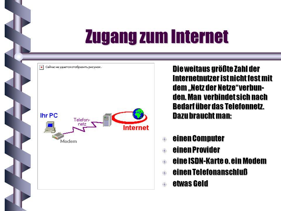 Zugang zum Internet Die weitaus größte Zahl der Internetnutzer ist nicht fest mit dem Netz der Netze verbun- den. Man verbindet sich nach Bedarf über