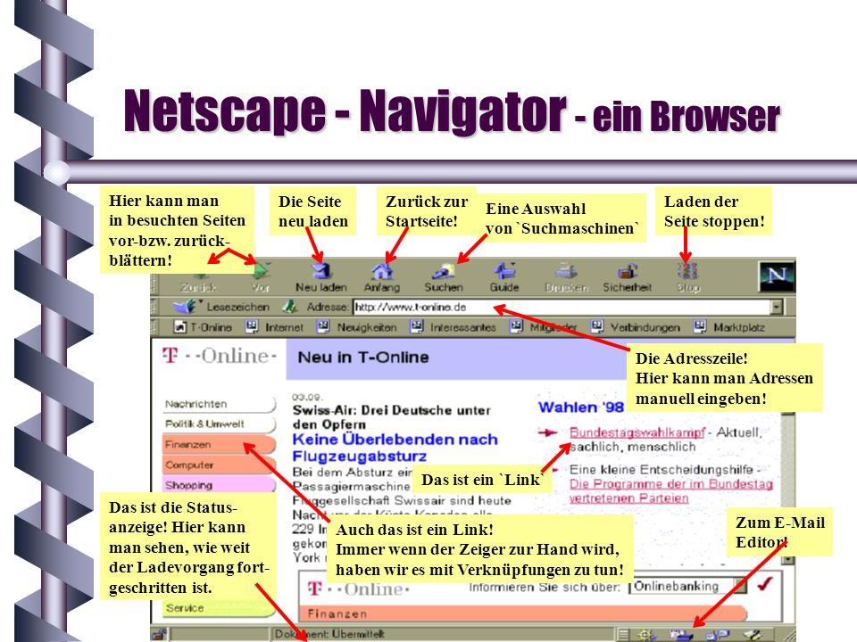 Netscape - Navigator - ein Browser Hier kann man in besuchten Seiten vor-bzw. zurück- blättern! Die Seite neu laden Zurück zur Startseite! Eine Auswah