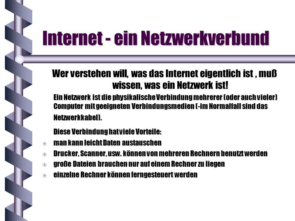 Wer verstehen will, was das Internet eigentlich ist, muß wissen, was ein Netzwerk ist! Ein Netzwerk ist die physikalische Verbindung mehrerer (oder au
