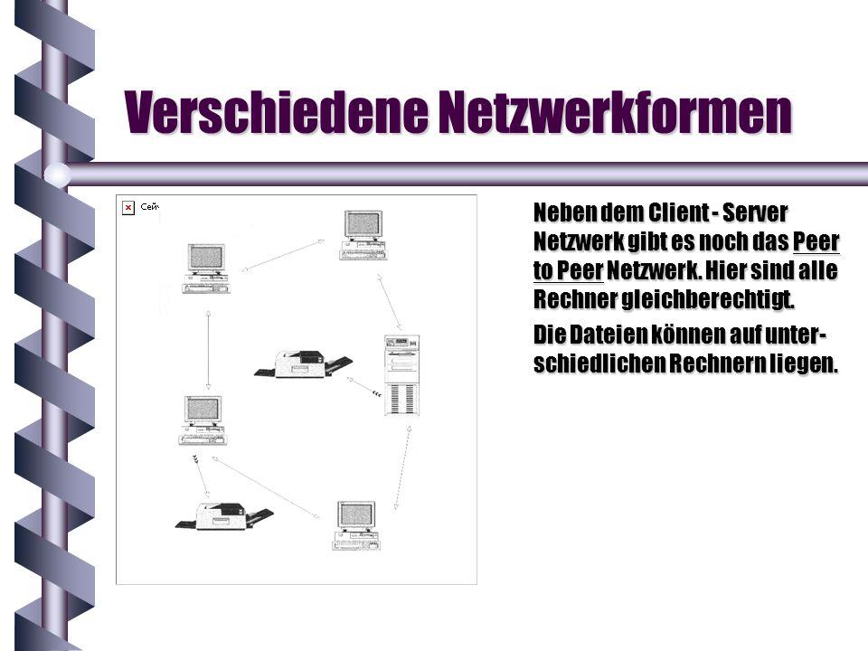 Verschiedene Netzwerkformen Neben dem Client - Server Netzwerk gibt es noch das Peer to Peer Netzwerk. Hier sind alle Rechner gleichberechtigt. Die Da