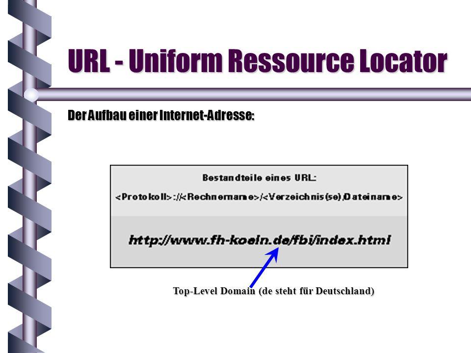 URL - Uniform Ressource Locator Der Aufbau einer Internet-Adresse: Top-Level Domain (de steht für Deutschland)